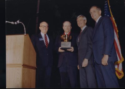 Ed with Hotel President Fred M. and Bill Marriott, 1985